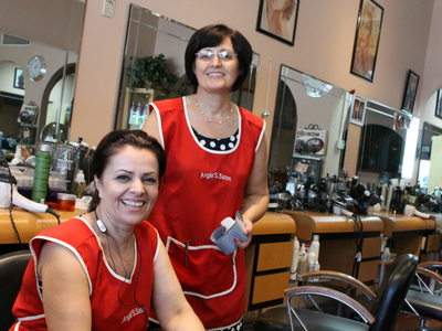 Angie Spiro (r), who owns Angie's Salon and European Stylists on Williamsbridge Road in Morris Park, said she will vote for Mark Gjonaj.