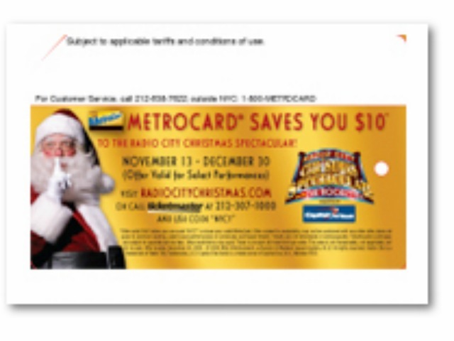 A holiday-themed MetroCard ad.