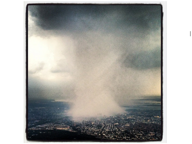 Former-NFL player Dhani Jones posted a striking photo of the weather above New York City as the storm struck on July 18, 2012.