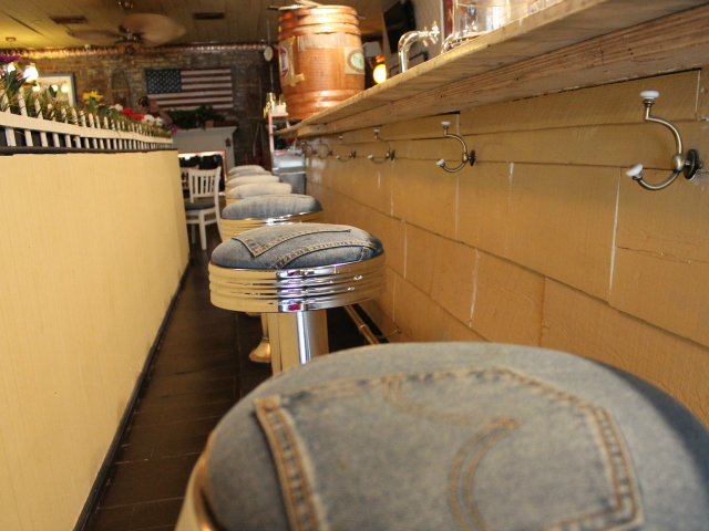 Denim covers the stools at the Grandma's House counter.