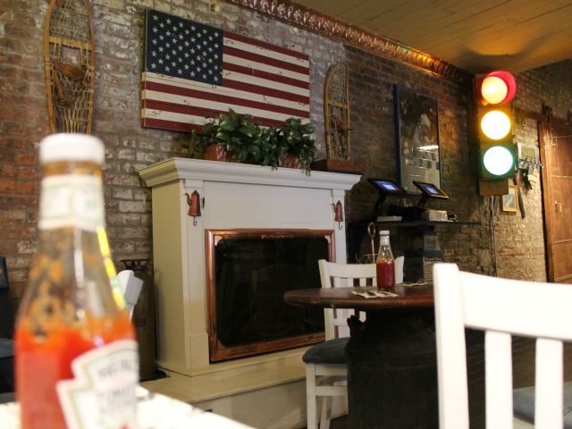 Grandma's House has a fireplace and is decorated in Americana.