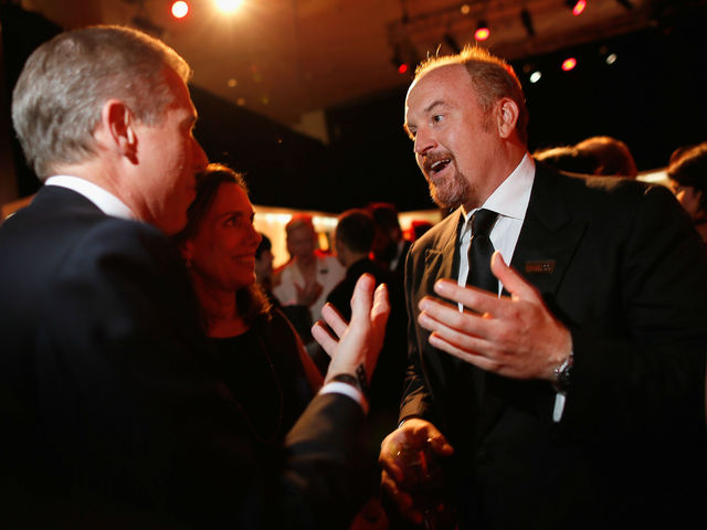 <p>Louis C.K. chatting with Brian Williams at the TIME&#39;S 100 Most Influential People Gala. C.K. has announced to benefits on Staten Island for Hurricane Sandy relief funds, Nov. 12, 2012.</p>