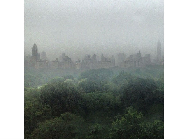 "Yoko Ono (@yokoonoofficial) snapped this picture and wrote, ""From My Window - 2012. Isn't this just beautiful? I love new york in thunder and storm! yoko."""