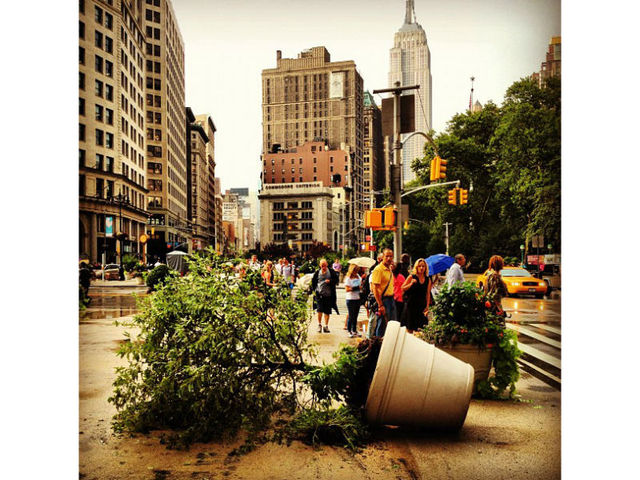 Twitter user Henry Sene Yee (@hsyee) took this picture of some storm casualties in Flatiron.