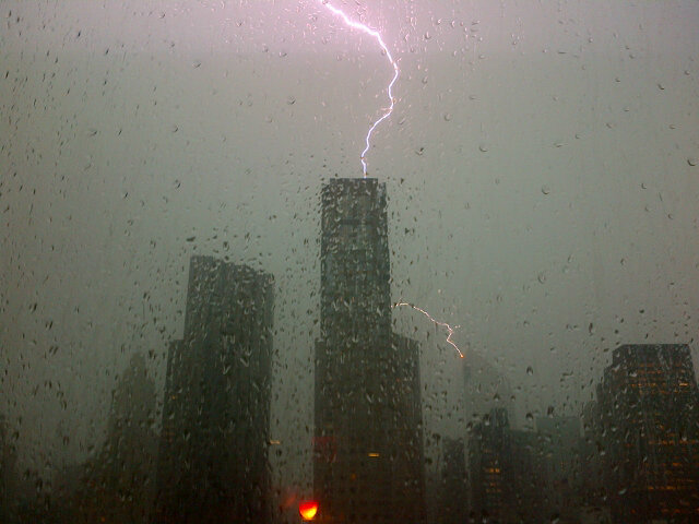 """Big thunder storm in Mid Town, NY. From @RivadaNetworks  office, snapped City Bank getting struck."" -- Twitter user Declan Ganley (@declanganley)"