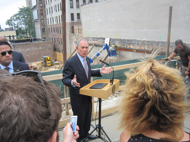 Mayor Michael Bloomberg speaks to reporters before the groundbreaking.