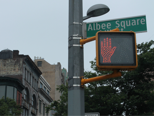 Albee Square sign off of the Fulton Street Mall.