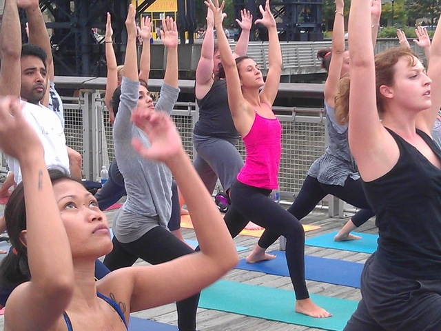 Free yoga along the Hudson River.
