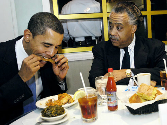 President Barack Obama and Rev. Al Sharpton enjoy a meal at Sylvia's.