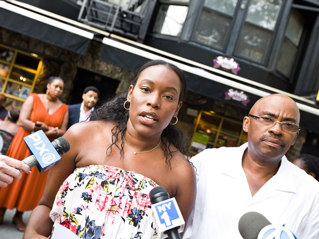 Tren'ness Woods-Black, granddaughter of Sylvia Woods and Kenneth Black youngest son of the late owner of Sylvia's Restaurant address the media on July 19th, 2012.