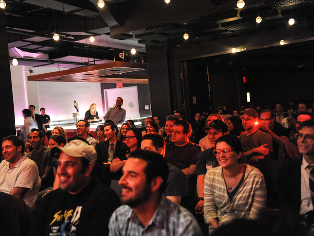 The audience during a Q&A with