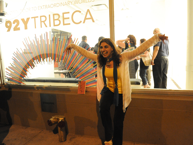 Fan Stefanie Rennert shows off her crane technique after the screening.