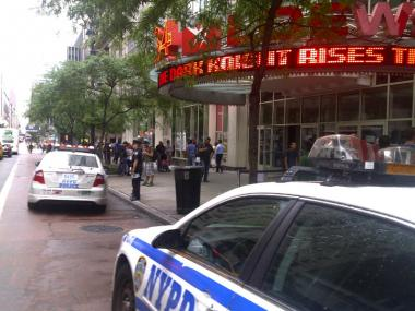 Police were present at the AMC Loews 34th Street 14 on Friday, July, 2012.