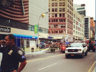 A Con Edison service box near the Union Square subway station caught fire Friday afternoon, officials from the utility said.