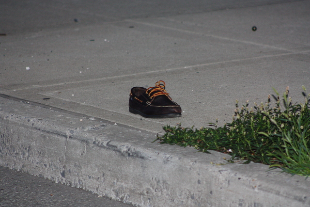 A lone shoe at the scene of a July 22, 2012 car accident in Queens.