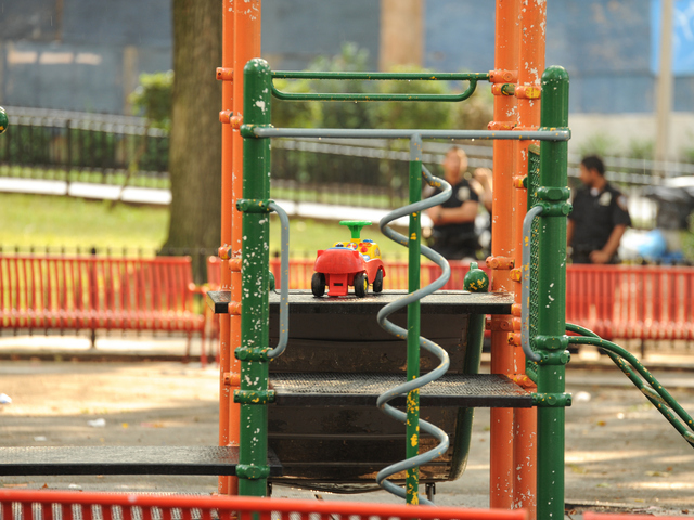 A toy can be seen on the playground where 4yr old Lloyd Morgan was shot and killed late Sunday night on Monday July 23rd, 2012.