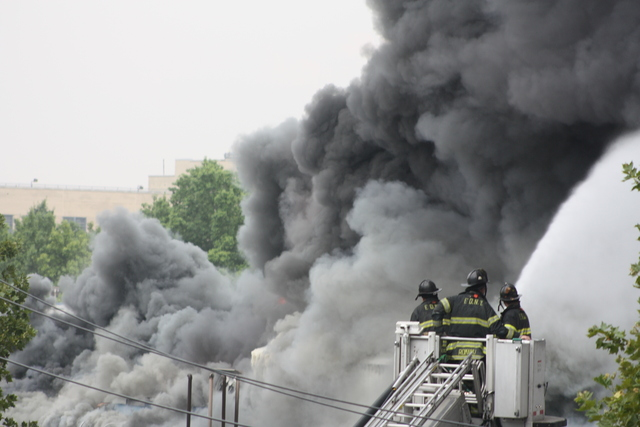 Firefighters battled a blaze at 3250 Fulton St. Monday afternoon.