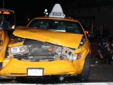 One of the two cabs  involved in a crash at Second Avenue and E. 79th Street Monday night.