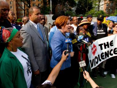 City residents and politicians rallied on the basketball court at the Forest Houses in the Morrisania section of The Bronx Monday night, July 23, 2012, less than 24 hours after 4-year-old Lloyd Morgan was struck by a stray bullet there and killed.