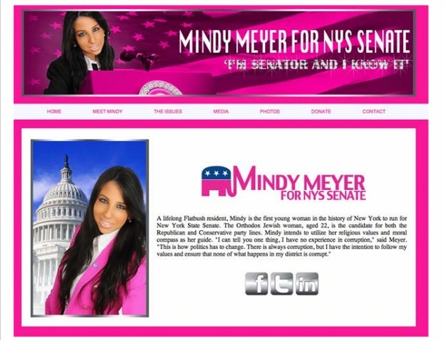 """I'm senator and I know it.' declares Mindy Meyer on her senate website."