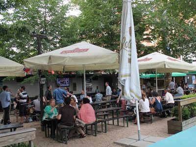 Bohemian Hall is a combination of a park, a neighborhood's backyard, a pub and a restaurant.