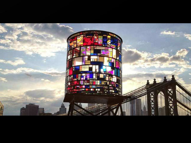 Stained glass water tower in DUMBO by artist Tom Fruin.