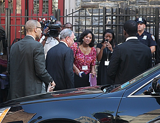 Mayor Michael Bloomberg arrives at the wake for famed Harlem restaurateur Sylvia Woods at the Abyssinian Baptist Church on 138th Street.
