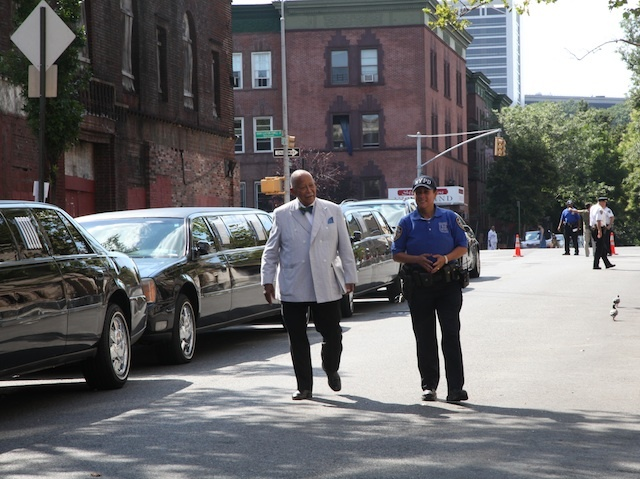 Former New York Mayor David Dinkins arrives at Sylvia Woods' public wake at Harlem's Abyssinian Baptist Church.
