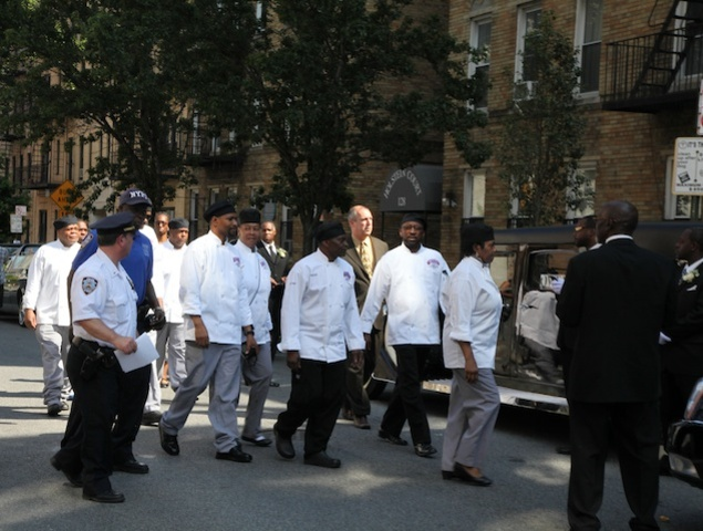 Staff from the legendary Sylvia's restaurant arrived at the public wake for Sylvia Wood, 86, at Harlem's Abyssinian Baptist Church.