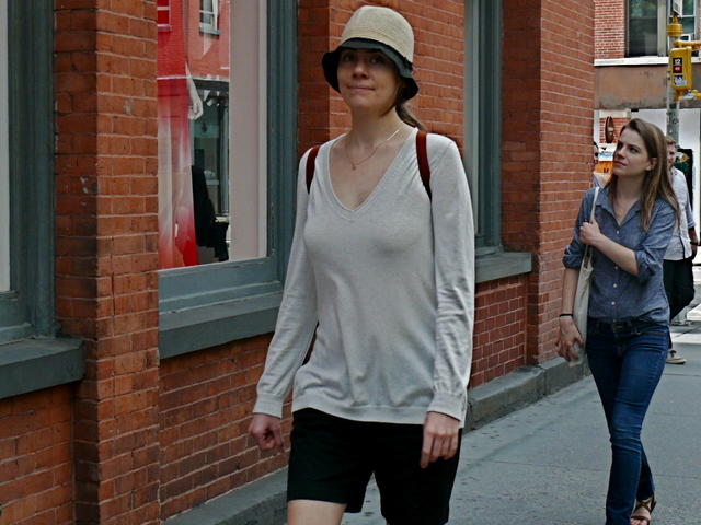 The very classic style of the quintessential New York flair of  the Annie Hall with black walking shorts in SoHo.