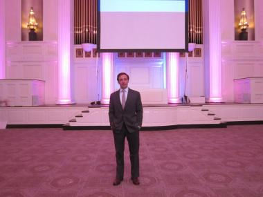 James Hallquist, director of operations at 583 Park Ave., standing in the main room at 583 Park Ave.