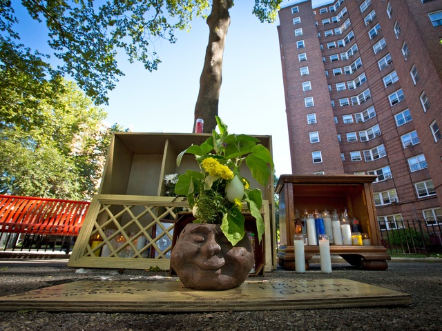 A makeshift memorial at the Forest Houses in Morrisania on July 25, 2012, after the fatal shooting of 4-year-old Lloyd Morgan.