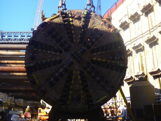 The tunnel boring machine working on the East Side Access tunnel in Queens.