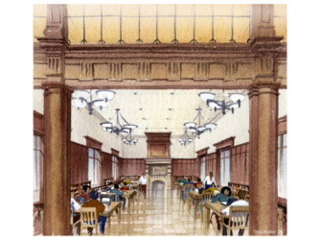<p>A drawing of the new interior of Park Slope public library, which closed for renovations in October 2009.</p>