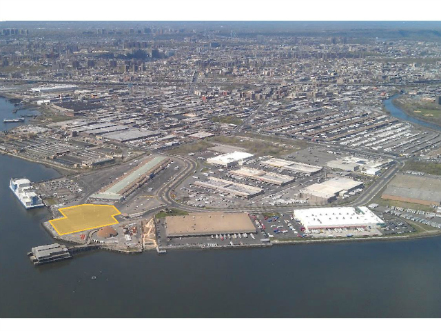 The new food festival would be held in the 4.5-acre parking lot outside the New Fulton Fish Market, highlighted here in yellow.