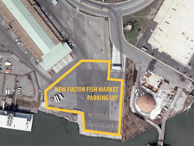 An aerial view of the New Fulton Fish Market, where the festival would be situated.