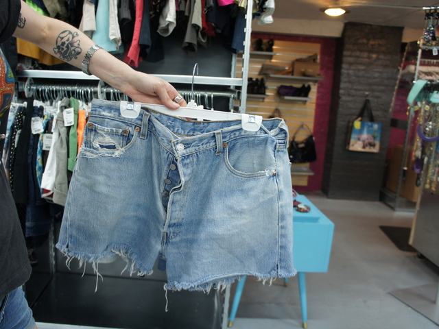 Denim cutoffs are still a hot item for buyers at Buffalo Exchange in Brooklyn. The second-hand store is just one of many where New Yorkers can trade their used clothes for cash.