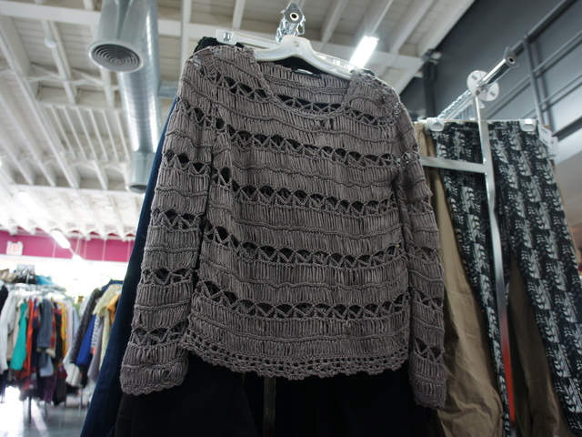 A lightweight sweater at Buffalo Exchange. The second-hand clothing store is searching for sweaters like these as it transitions from summer to fall.