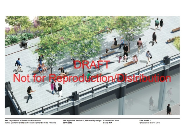 "The ""Grasslands"" - a new plant-covered area in the draft designs of the High Line's third section."
