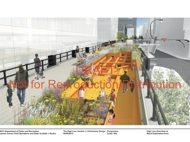 "The new segment of the park will have a ""beam exploration area"" west of 11th Avenue that turns the beams of the original High Line structure into a play area that kids can twist, turn and play hide-and-seek in."
