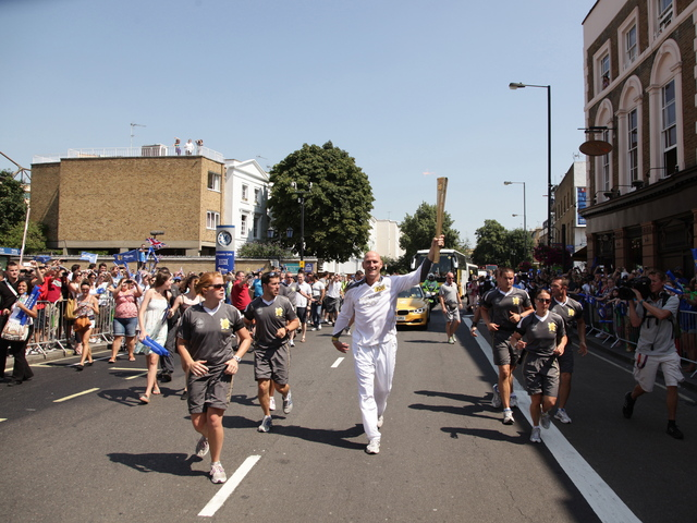 The Olympic Torch journeys in anticipation of the 2012 summer Olympics, held in London.