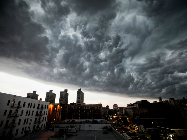 Dark clouds descended on New York City July 26, 2012.