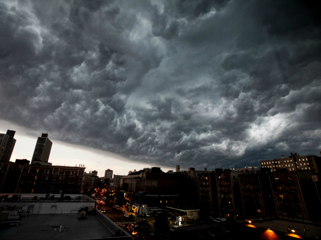 A large thunderstorm rolled into New York City July 26, 2012.