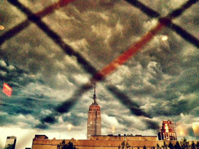 Storm clouds rolled in over the Empire State Building July 26, 2012.