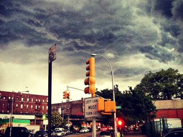 A line of severe thunderstorms hit New York City July 26, 2012.