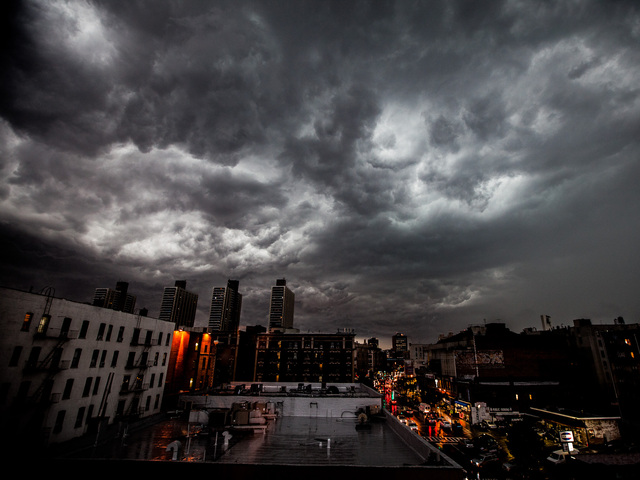 Dark clouds rolled into New York City July 26, 2012.