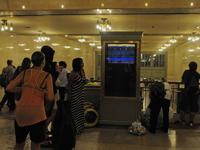 The crowd at Grand Central Terminal during the thunderstorm July 26, 2012.