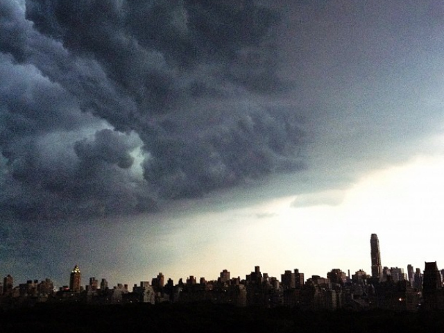 A thunderstorm pounded New York City July 26, 2012.
