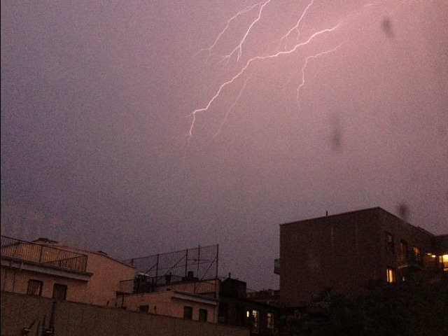 Lightning lit up the Brooklyn sky July 26, 2012.