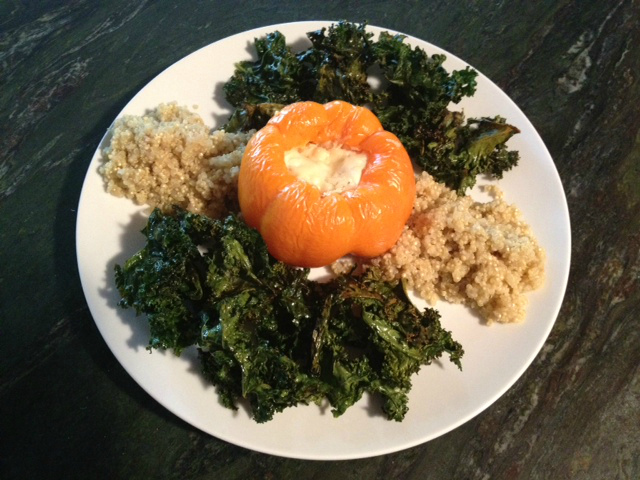 Sam Wohabe's winning recipe for the Healthy Lunchtime Challenge: Fish Fueled Pepper Rocket with Kale Chips and Quinoa.